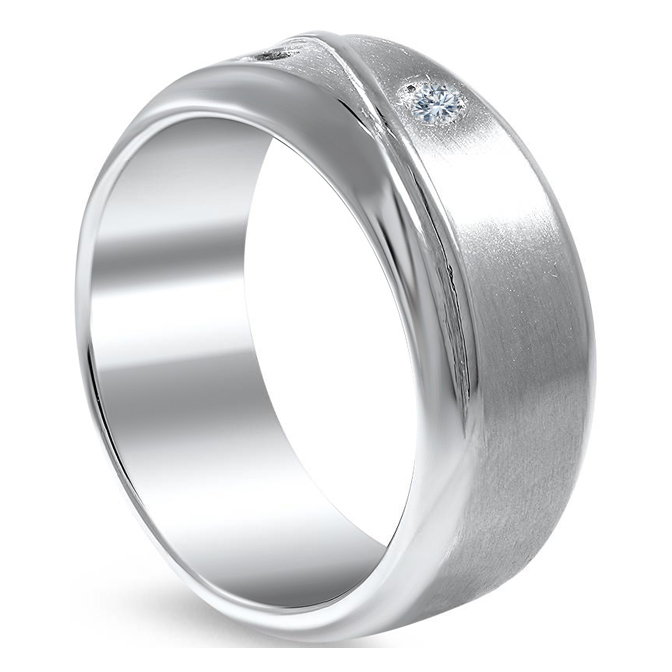 Men Matte Finish Wedding Band with Black & White Diamonds