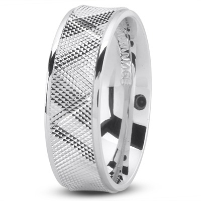Diamond Cut Concave Mens Wedding Band