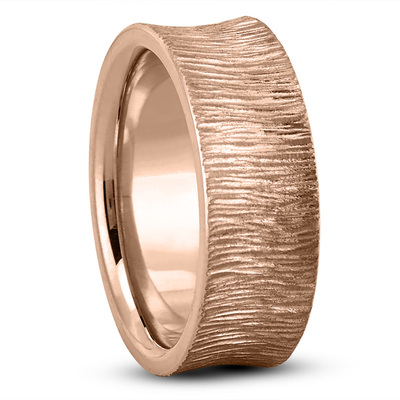 Concave Tree Bark Mens Wedding Band in Rose Gold