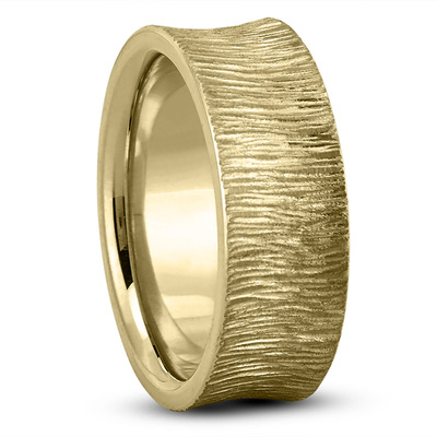 Concave Tree Bark Mens Wedding Band in Yellow Gold