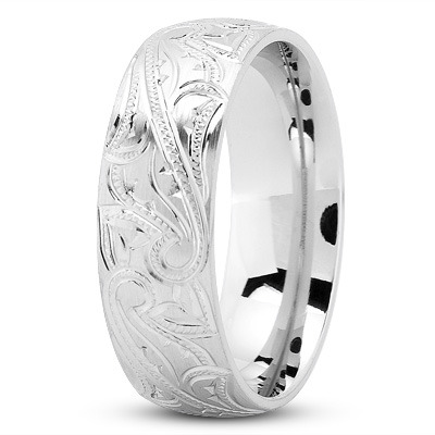 7mm Engraved Mens Wedding Band