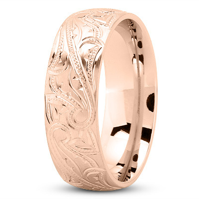 7mm Engraved Men's Wedding Band in Rose Gold