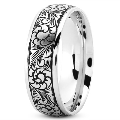Floral Engraved Black Rhodium Mens Band