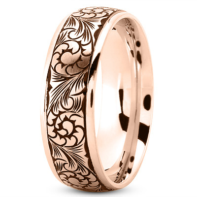 Black Rhodium Men's Wedding Band in Rose Gold