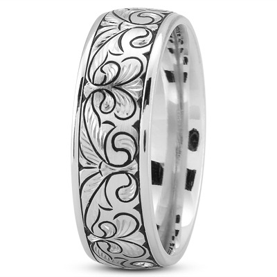 Fleur De Lis Engraved Mens Wedding Band