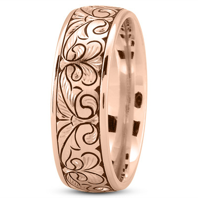 Fleur De Lys Engraved Mens Wedding Band in Rose Gold