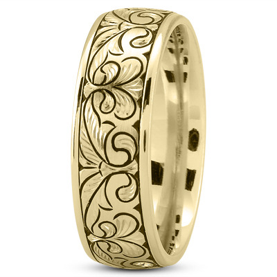 Fleur-De-Lis Engraved Mens Wedding Band in Yellow Gold
