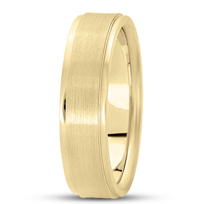 Wire Matte Raised Wedding Band in Yellow Gold