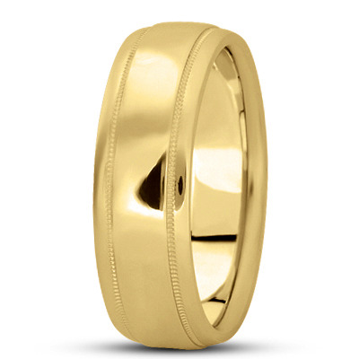 Multi Width Low Dome Milligrain Wedding Band in Yellow