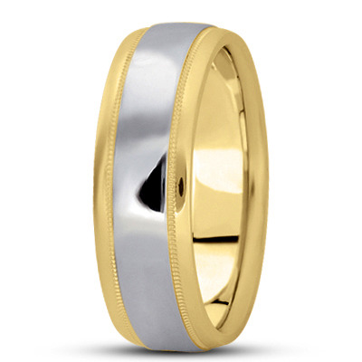 Multi Width Low Dome Milligrain Mens Wedding Band in Two Tone