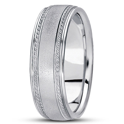 Low Dome Satin Finish Rope Mens Wedding Band