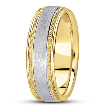 Satin Finish Rope Mens Wedding Band in Two Tone