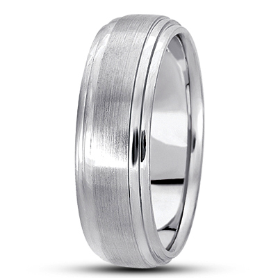 Low Dome Satin Finish Tiered Mens Wedding Band