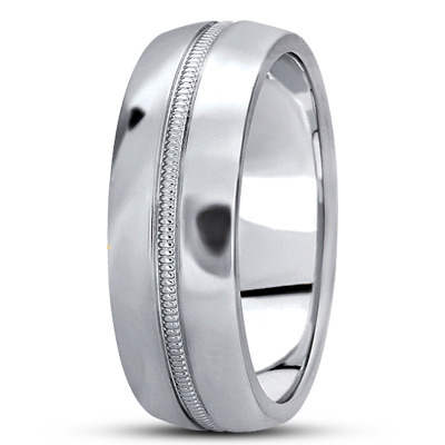 Domed Milligrain  Section Wedding Band