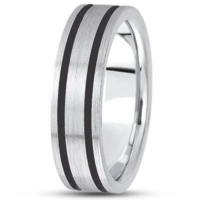 Black Rhodium Satin Mens Gold Band