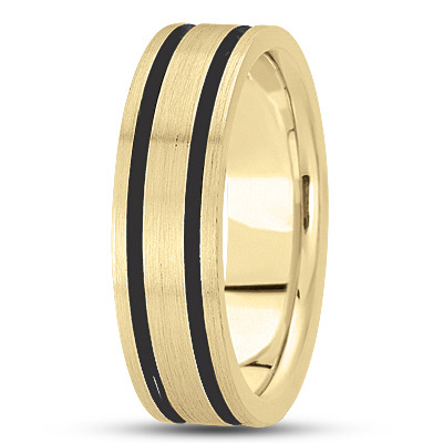 Black Rhodium Satin Mens Yellow Gold Band