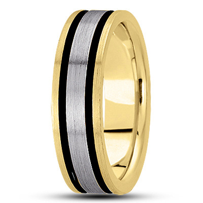 Black Rhodium Satin Mens Two Tone Band