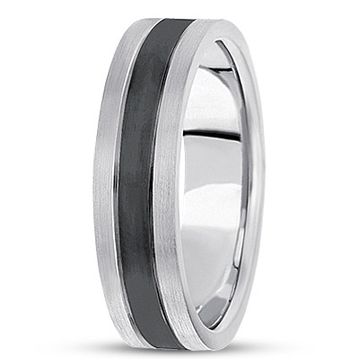 Black Rhodium Satin Mens Tri Band