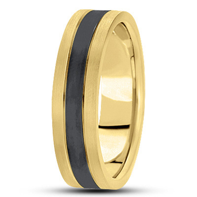 Black Rhodium Satin Mens Yellow Tri Band