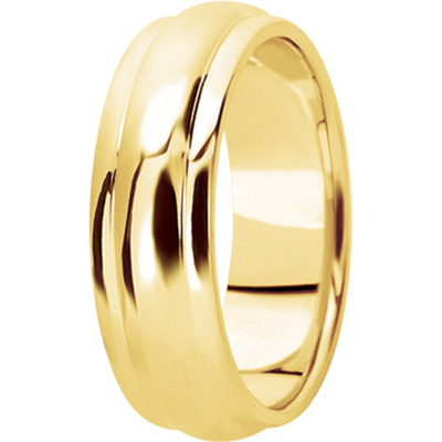Center Domed Yellow Mens Wedding Band