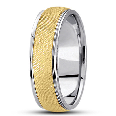 Textured Two Tone Men's Wedding Band