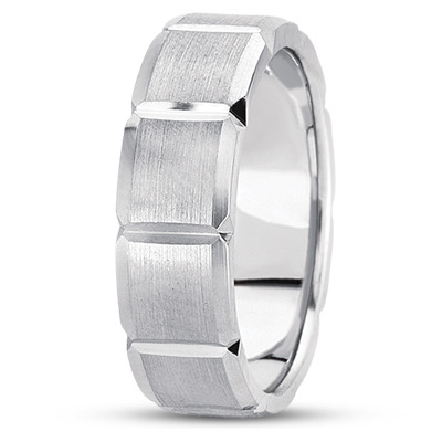 Multi Width Beveled Squares Mens Band