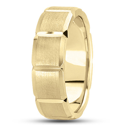 Beveled Squares Mens Band in Yellow Gold
