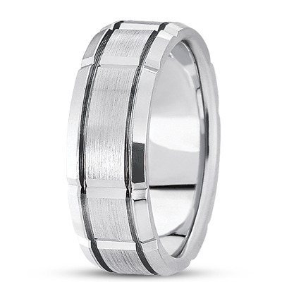 Satin Section Wedding  Ring 8.5mm Wide