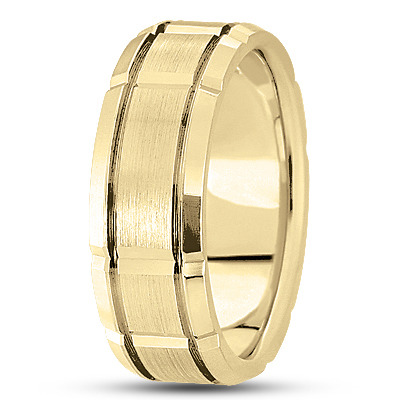Satin Section Yellow Wedding  Ring 8.5mm Wide