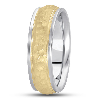 Ridged Hammered Mens Band in Two Tone