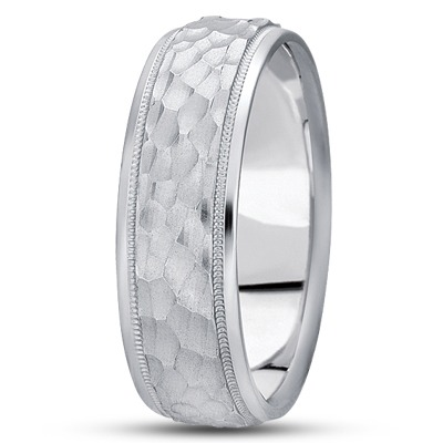 Milligrain Hammered Men's Wedding Band