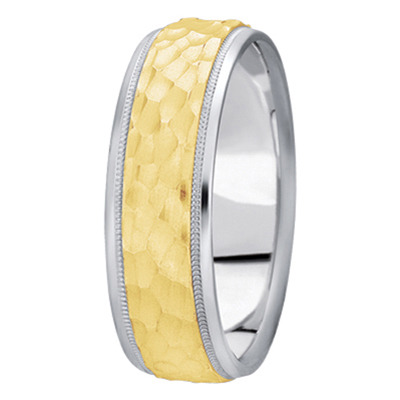 Milligrain Hammered Men's Band in Two Tone