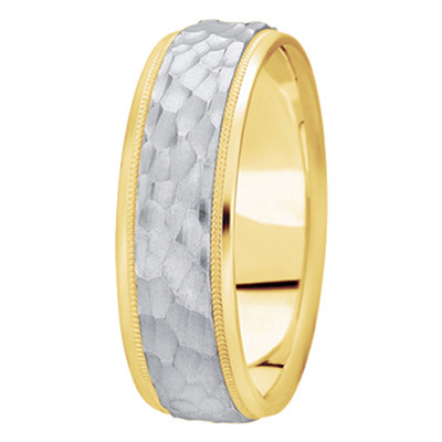 Milligrain Hammered Mens Band in Two Tone
