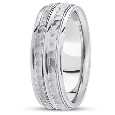 Double Row Hammered Wedding Band