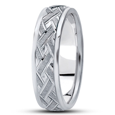 Satin Engraved Woven Men's Wedding Ring