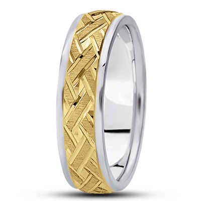 Satin Engraved Woven Two Tone Wedding Ring