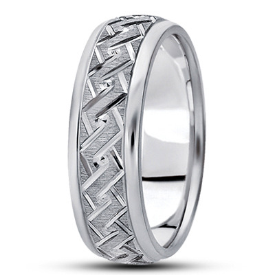 Engraved Angular Rope Wedding Band