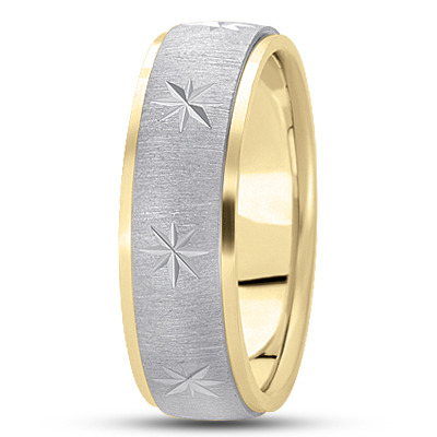Exploding Star Satin Two Tone Wedding Ring