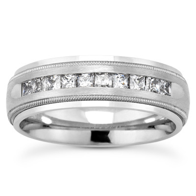 Princess Diamond Milligrain Channel Band