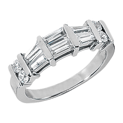 Round & Baguette Cut Diamond Wedding Band G-H VS 0.43 tcw. In 14K White Gold