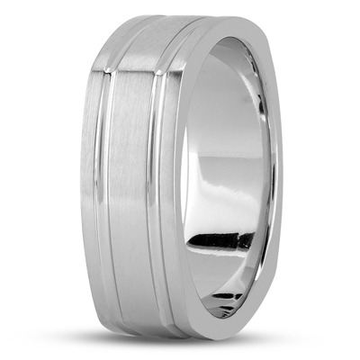 Square Men's Wedding Band Satin Finish