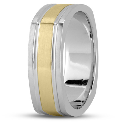Square Mens Wedding Band Satin Two Tone