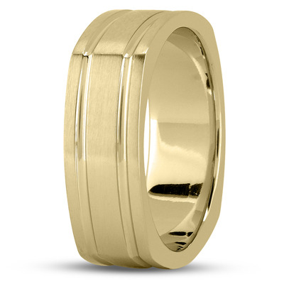 Square Men's Wedding Band Satin Yellow Gold