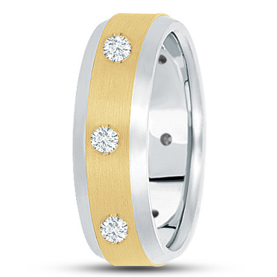Bezel Men's Diamond Band in Two Tone