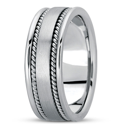 Double Rope Satin Mens Wedding Band