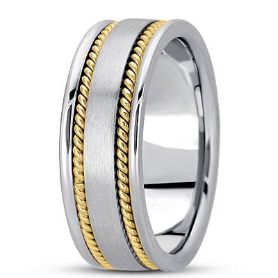 Double Rope Two Tone Mens Wedding Band