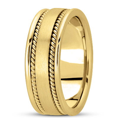 Double Rope Yellow Mens Wedding Band