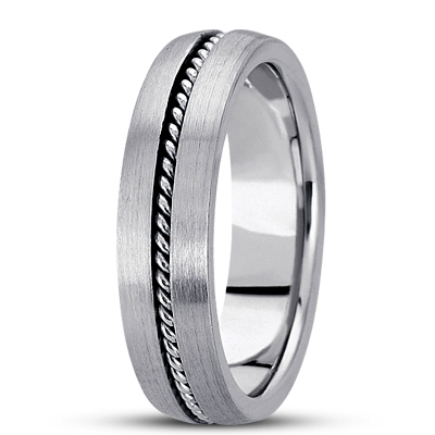 Satin Finish Rope Men's Wedding Band