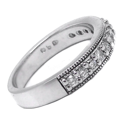 Thirteen Stone Round Diamond Milligrain Wedding Band F-G VS 0.40 tcw.