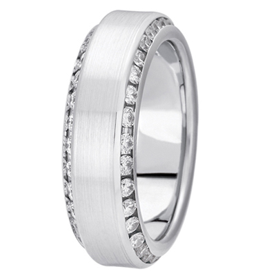 Two Row Angled Channel Diamond Satin Band